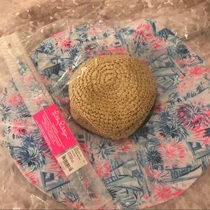NWT Lilly Pulitzer GWP Sun Hat and Sunglass Strap